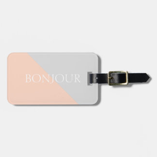 Modern Coral Gray Personalized Luggage Tag