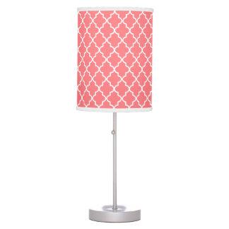 Modern Coral Moroccan Quatrefoil Table Lamp