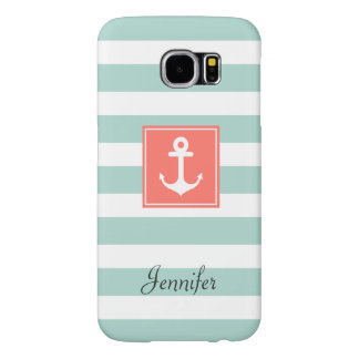 Modern Coral Nautical Anchor Mint White Stripes Samsung Galaxy S6 Cases