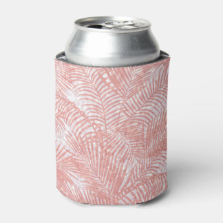 Modern coral pink faux glitter elegant palm tree can cooler