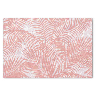 Modern coral pink faux glitter elegant palm tree tissue paper