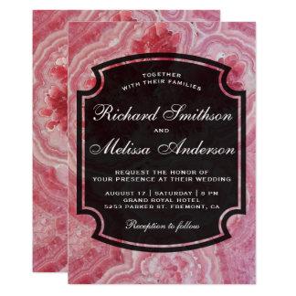 Modern Coral Pink Gemstone Wedding Invitation