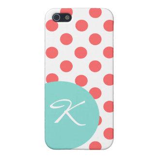 Modern Coral Polka Dot Monogram iPhone 5C Case