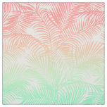 Modern coral turquoise tropical palm trees pattern fabric