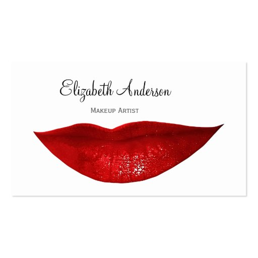 Modern Cosmetology Makeup Artist With Red Lips Business Card Template