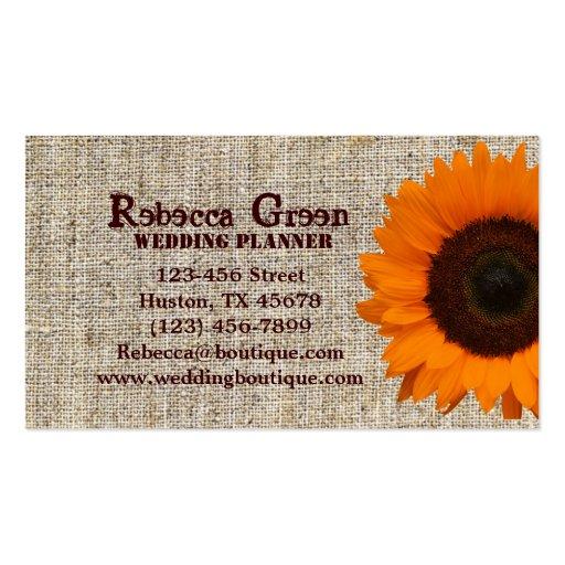 Modern Country orange Sunflower burlap fashion Business Card Templates