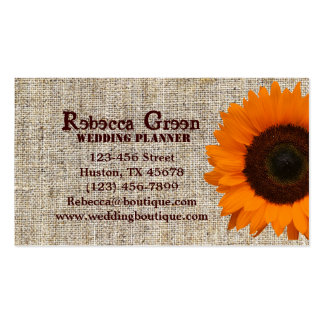 Modern Country orange Sunflower burlap fashion Pack Of Standard Business Cards