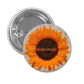 Modern Country orange Sunflower burlap wedding Button