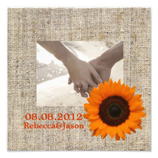 Modern Country orange Sunflower burlap wedding Photographic Print