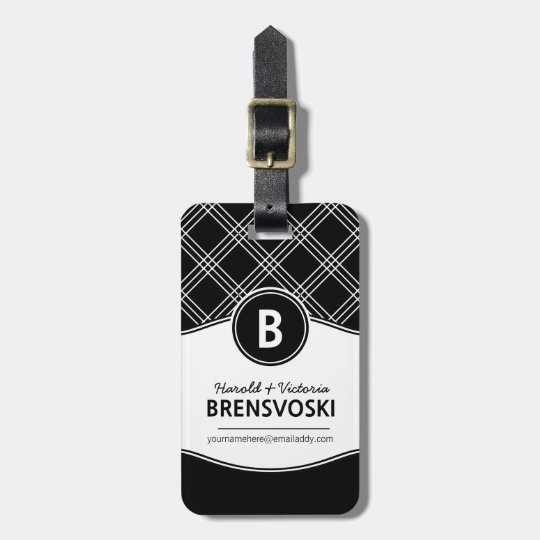 Modern Couple Black and White Monogram Luggage Tag