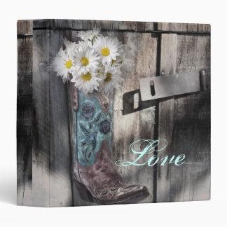 modern cowboy boots white daisy barn wedding 3 ring binder