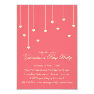 Modern Cream Hearts on Coral Red Valentines Party Card