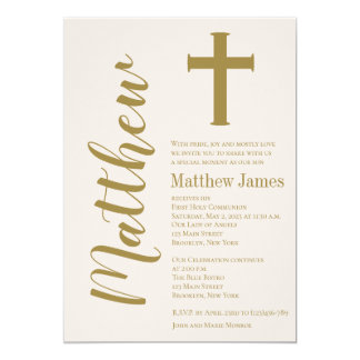 Modern Cross First Holy Communion Invitation