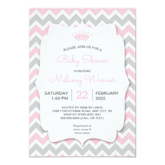 Modern Crown Girl Baby Shower Invitations
