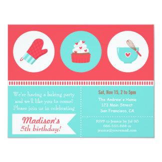 Modern Cupcake Cooking Baking Birthday Party Card
