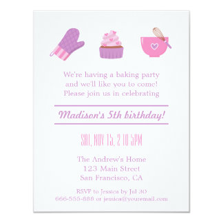"Modern Cupcake Purple Pink Baking Birthday Party 4.25"" X 5.5"" Invitation Card"