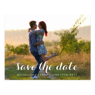 Modern Cursive Save the Date Photo Design Postcard