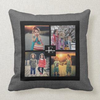 Modern custom Family photo collage gray burlap Throw Pillow