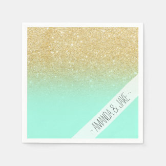 Modern custom gold ombre turquoise block disposable napkins
