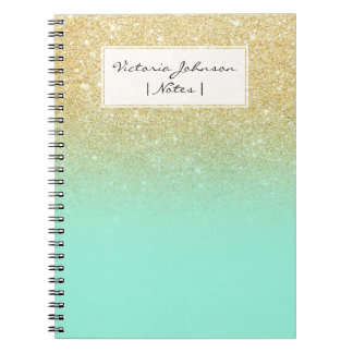 Modern custom gold ombre turquoise block notebook