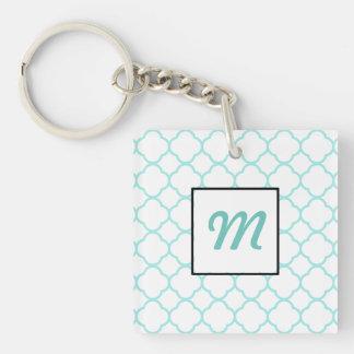 Modern Custom Monogrammed Blue & White Quatrefoil Keychain