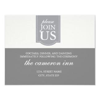 Modern custom ribbon wedding reception card