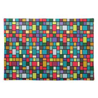 modern cute abstract color mosaic pattern placemat
