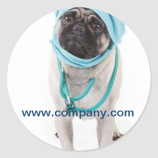 Modern cute animals pet service veterinary classic round sticker