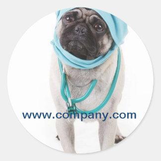 Modern cute animals pet service veterinary round sticker