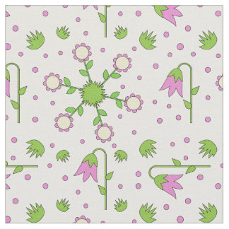 Modern cute design with tulips, grass and flowers fabric