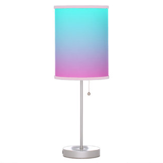modern cute girly hot pink Fuchsia turquoise ombre Table Lamp