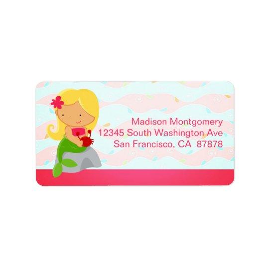 Modern Cute Mermaid Pink Label