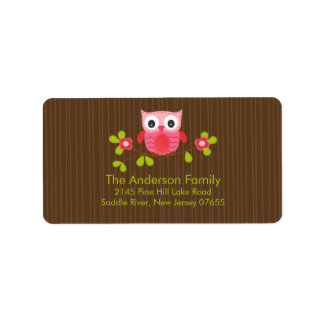 Modern Cute Owl Address Label