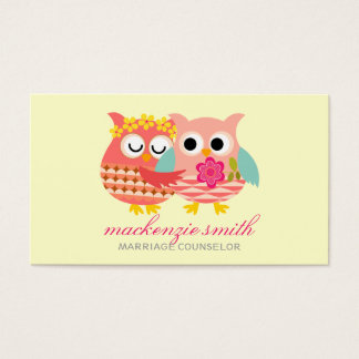 Modern Cute Owls Couple Marriage Counselor Business Card