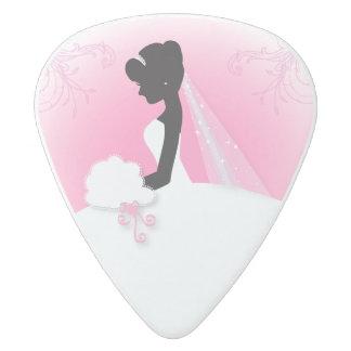 modern cute pink bride silhouette bride white delrin guitar pick