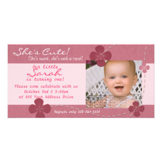 Modern Cutie Birthday Invitation with Flowers