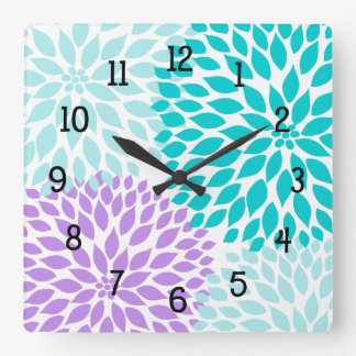 Modern Dahlia flowers turquoise lavender purple Wall Clock