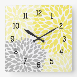 Modern Dahlia flowers yellow and gray grey Square Wall Clock