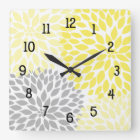 Modern Dahlia flowers yellow and grey grey Square Wall Clock