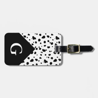 Modern Dalmatian Print & Initial Letter Luggage Tag