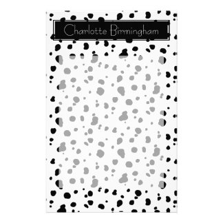 Modern Dalmatian Print & Name Customized Stationery