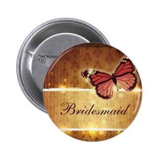 modern Damask glamorous Butterfly Wedding Button
