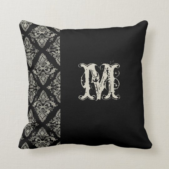 Modern Damask Hand Painted Monogrammed Decor Throw Pillow
