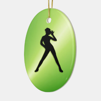 Modern Dance Green Ceramic Ornament