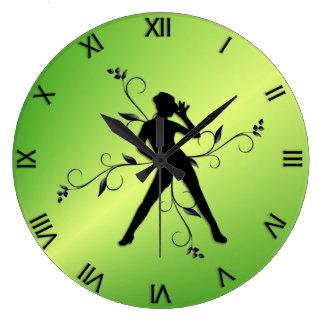 Modern Dance Green w Black Numerals Large Clock