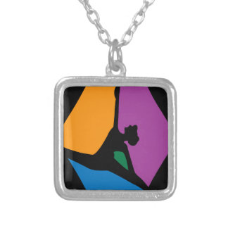 Modern Dancer Abstract Square Pendant Necklace