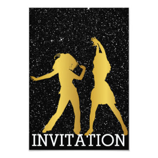 Modern Dancer Disco Club Vip Night Glitter Black Card
