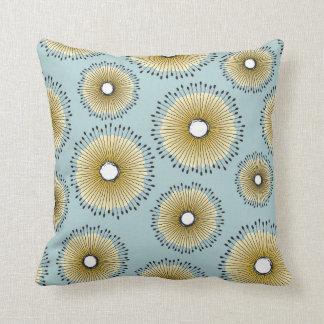 Modern Dandelion Flower Pattern Patina Green Throw Pillow