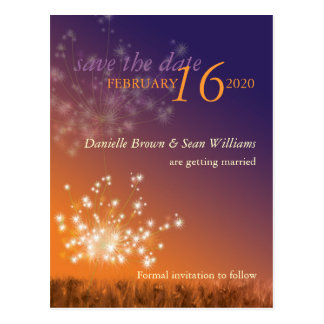 Modern Dandelion Wedding Save the Date Postcard