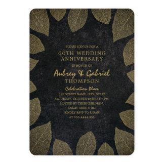 Modern Dark 60th Wedding Anniversary Golden Leaves Card